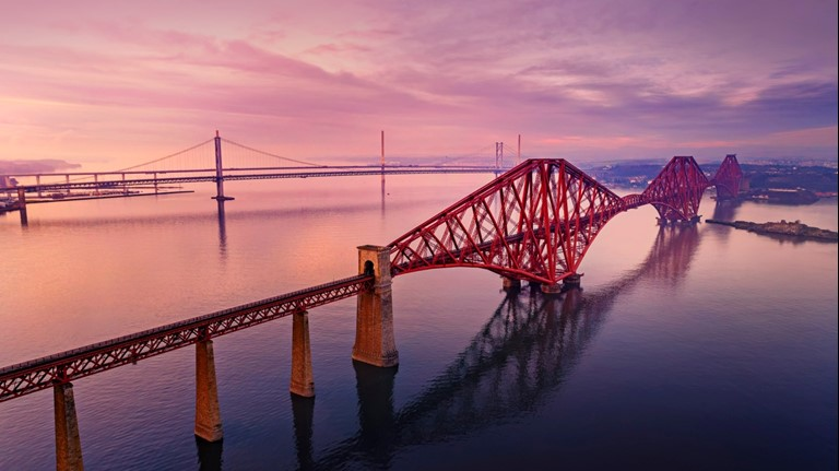 A trio bridges, over the Firth of Forth - The Forth Rail Bridge, Forth road Bridge and, Queensferry crossing. Photo credit - VisitScotlad/Stuart Brunton