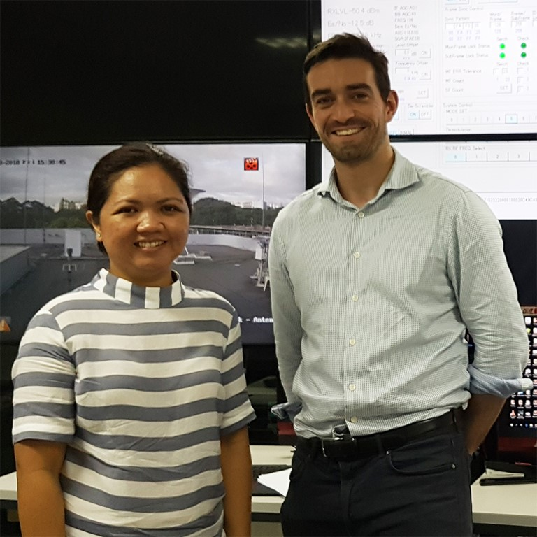 Dr Murray Collins, space lead at Bayes Centre, Edinburgh with Professor Gay Perez at the Philippines Space Agency control centre